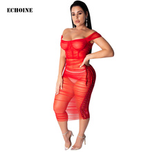 купить Sheer Mesh Maxi Dress Grommet Bandage Lace Up Skinny Long Dress Sexy Off-shoulder Slash Neck Party Club Wear Outfit Vestidos по цене 904.67 рублей