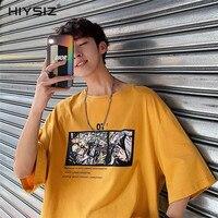 HIYSIZ 2019 Streetwear Harajuku t shirt Sleeve Casual Cotton tshirt Men Summer Hip Hop tshirt Short Ship Cartoon T shirts ST539
