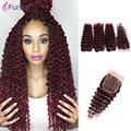 Deep Wave Malaysian Hair 4pcs Lot Kinky Curly Weave Human Hair Bundles #99j Remy Human Hair Extensions Deep Curly With closure
