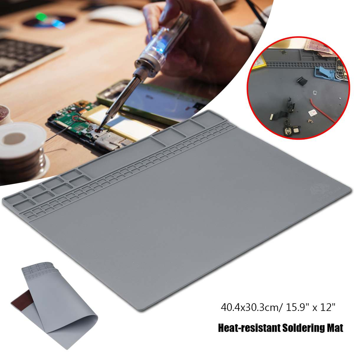 Soldering Station Soldering Pad Heat Resistant Silicone Heat Insulation Pad Repair Tools Maintenance Platform Desk Mat