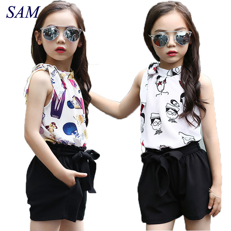 Girls Clothing Sets Chiffon Polka Dot Vests & Shorts 2 Pcs Summer Cartoon T-Shirts For Girls Kids Outfits 4 5 6 7 9 11  Years(China)