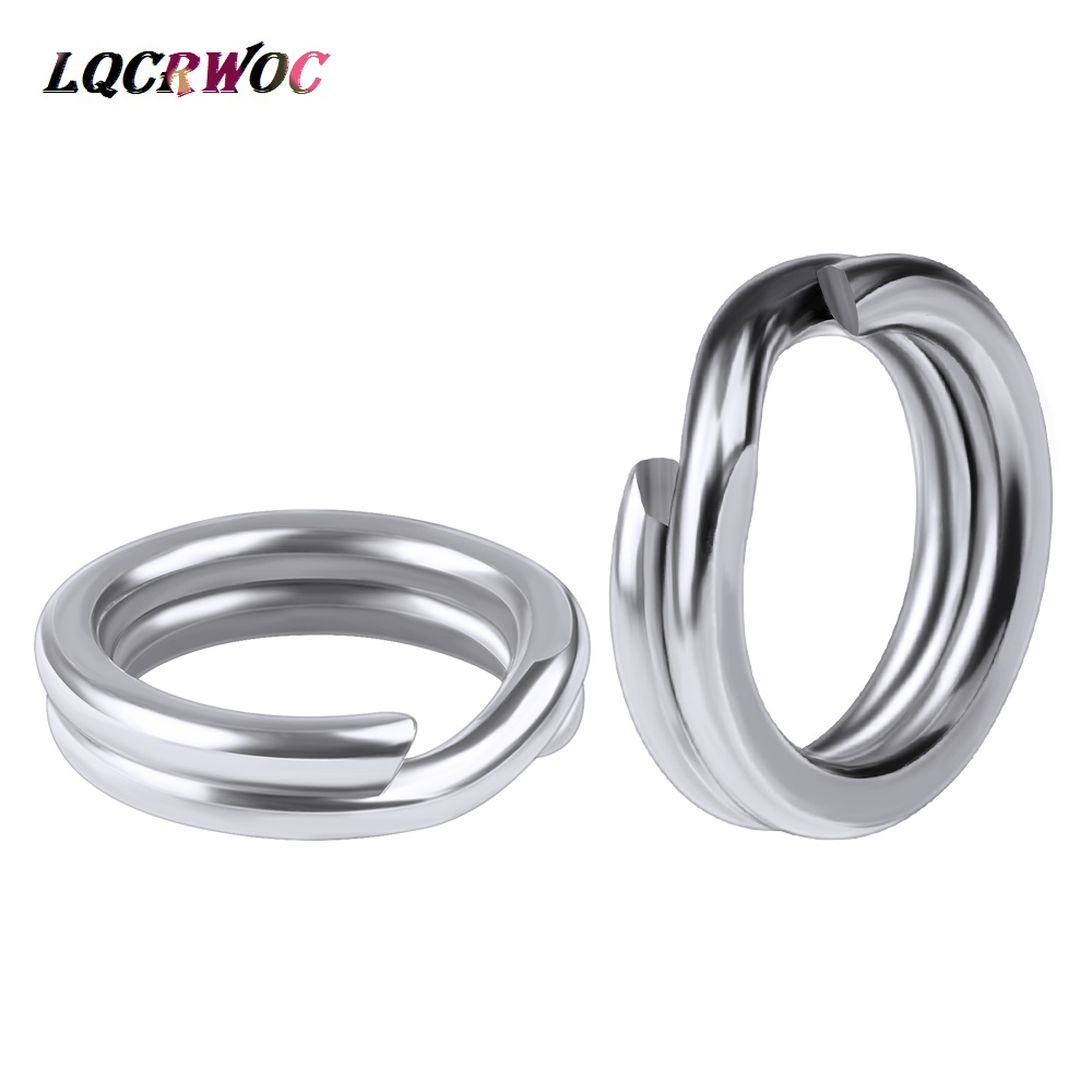 50pcs/bag Stainless Steel Fishing Rings Hook 3#/4#/5#/6#/7#8# Double Loop Split Tool Fishing Accessories Flat Rings Connector