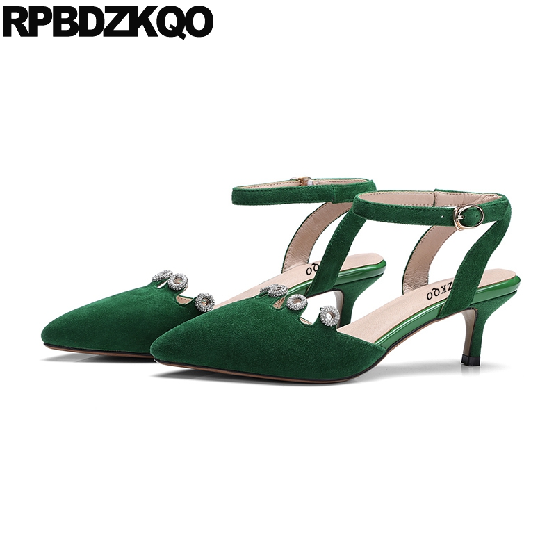 Pointed Toe Sandals High Heels Size 4 34 Ankle Strap Green Summer Crystal Closed Rhinestone Slingback Medium Suede Kitten Pumps pointed toe slip on high heels strappy 2017 chic size 4 34 black ladies kitten sandals medium fashion low summer shoes slingback page 7