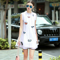 Summer Dress 2016 Runway Lolita Butterfly Embroidery Stand Collar A Line Organza Kawaii Dress White Yellow vestido curto	1272
