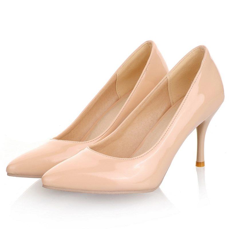 Women <font><b>Nude</b></font> Color <font><b>Patent</b></font> <font><b>Leather</b></font> Pumps 2016 spring Fashion Pointed Toe High Thin <font><b>Heels</b></font> Stilettos Slip On Party Shoes Plus Size 43