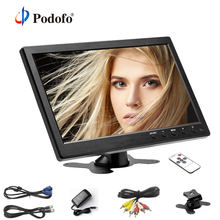 "Podofo 10.1"" LCD HD Monitor Mini TV & Computer Display HD Screen 2 Channel Video Input Security Monitor With Speaker HDMI AV VGA"