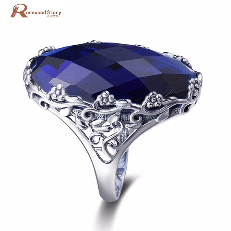 Luxury Fashion Retro Lab Sapphire Ring Flower 925 Sterling Silver Wedding Romantic Big Stone Rings Engagement Jewelry For Women