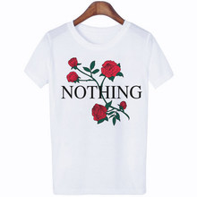 CZCCWD Summer Hot Sale Womens Fashion Ulzzang Harajuku Rose Letter Printed Tshirt Vogue Tumblr Streetwear Leisure White T Shirt(China)