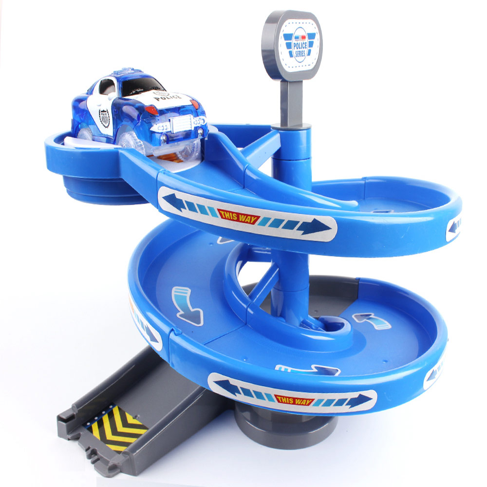 Fire Police Rotary  Plastic Turntables  Tracks Mini Car DIY Track Accessories Part For Kid Gift Puzzle Children's Toys For Boys