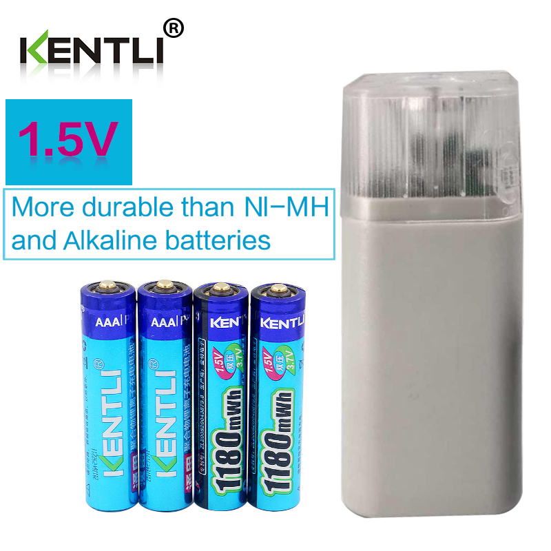 KENTLI 4pcs 1.5v 1180mWh AAA rechargeable polymer lithium battery + 4 slots aa aaa lithium battery charger with flashlight new 8pcs 1 5v aa lithium polymer rechargeable battery 3000mwh 4 slots usb charger 2a li ion cell replace ni mh type battery
