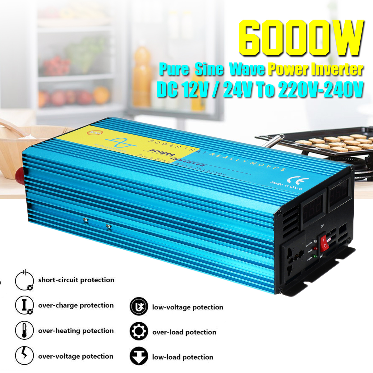 цена на Voltage Transformer PEAK 6000W DC12/24V To 220V Pure Sine Wave Watt Power Inverter Car Caravan Camping 8 Intelligent Protect