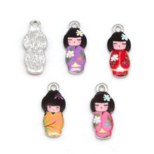 10pcs 8x21mm Necklaces Pendant Japanese Doll Enamel Charms Pendant DIY Bracelet Earrings Fashion Jewelery Findings(China)