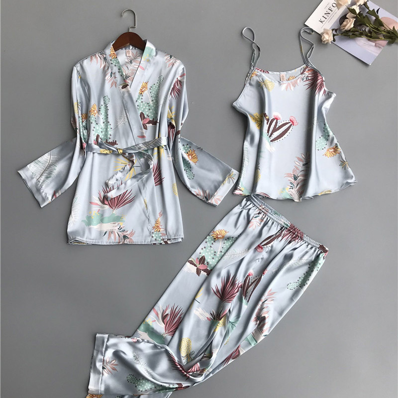 2019 3 PCS Women   Pajamas     Sets   with Pants Sexy Pyjama Satin Flower Print Home Clothes Nightwear Silk Negligee Sleepwear Pijama