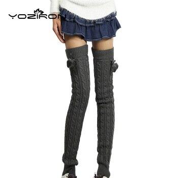 YOZIRON mujer largos calentadores de invierno por encima de las rodillas Casual otoño acrílico sólido cálido de punto botas calentador de piernas calcetines Gaiters