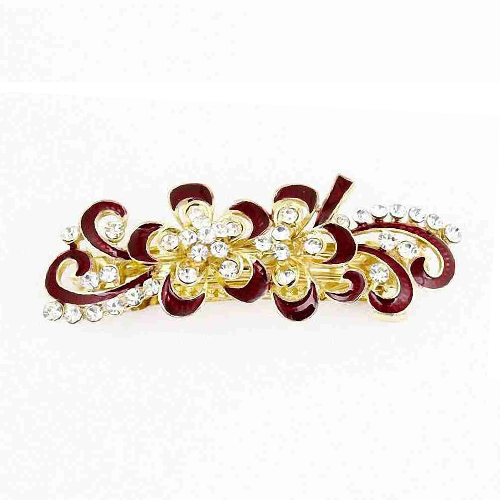 Bling Rhinestones Decor Swirl Floral French Hair Clip Red Gold Tone