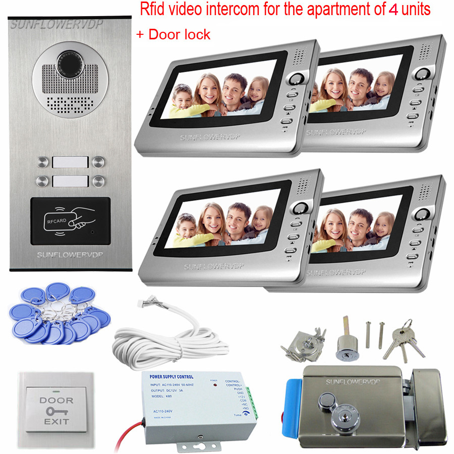4 Apartments Video Intercom With Lock 4 Color 7inchs Monitors Video Door Phone Intercom Electronic Video Doorphone System Unit rfid keyboard ip65 waterproof video doorphone intercom system for 3 apartments with 7 color lcd video intercom system in stock