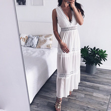 Aimsnug Deep V Neck Elegant White Lace Sexy Dress Women Backless Hollow Out Summer Long Maxi Dresses Female Clothing S M L XL