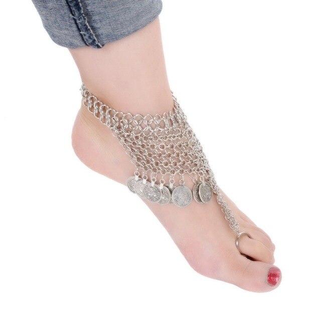 Summer Fashion Barefoot Beach Sandals Bridal Wedding Anklet Silver
