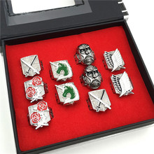 Attack on Titan Ring Set  Anime Cosply Jewerly 10pcs/set