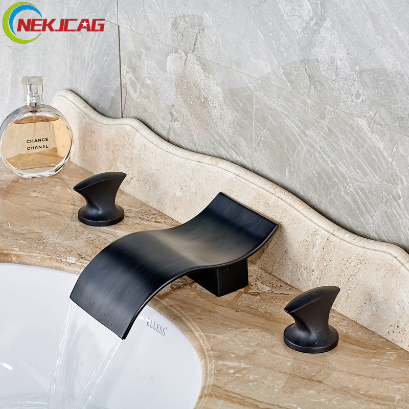 Oil Rubbed Bronze Waterfall Basin Mixer Faucet Dual Handles Wave Shape Spout Bathroom Black Widespread Water Taps цена