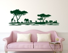 Hot Sale Safari Africa Forest  Wall Decal Vinyl Stickers For Home Decor Living Room Animal Adesivo NY-228