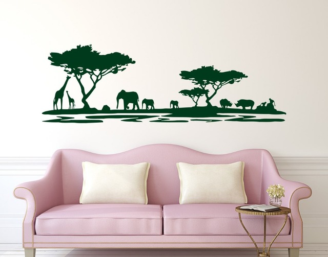 Hot sale safari africa forest wall decal vinyl stickers for home decor living room animal wall
