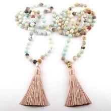 Модное богемное этническое бежевое ожерелье с кисточками для йоги из амазонита и камня Будды для женщин, ожерелье лариат