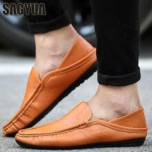 SAGYUA NYHET Koreansk manlig mode Vår Casual Loafers Hombre Men Moccasins Flattie Zapatos Driver Comfort Slip On Flat Skor T187
