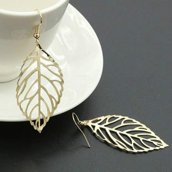 Korean fashion earrings wholesale jewelry long earrings female earrings simple Sen Department of metal leaves earrings image