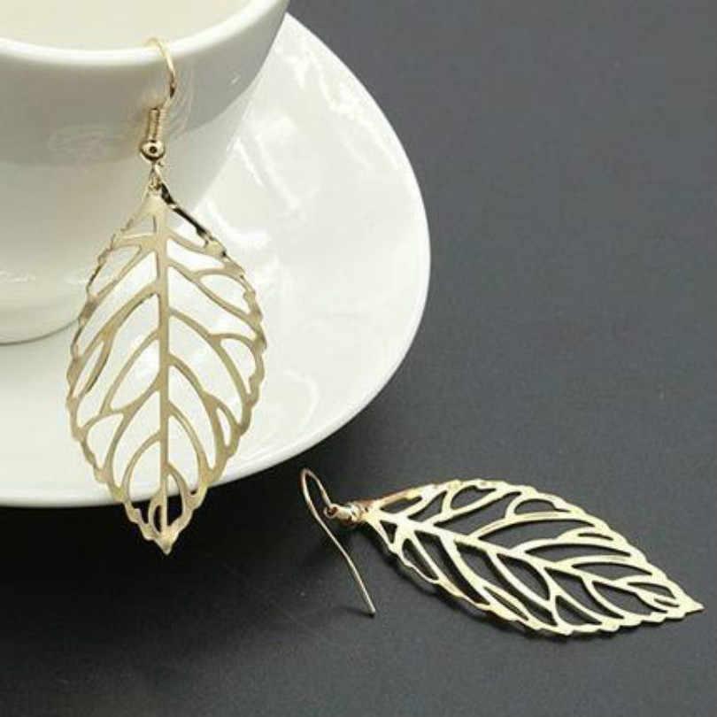 Koreaanse fashion oorbellen groothandel sieraden lange oorbellen vrouwelijke oorbellen eenvoudige Sen Afdeling van metalen bladeren oorbellen