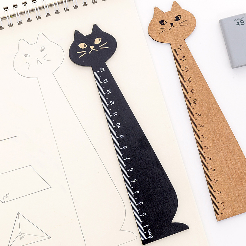 1 Pcs Cute Cat Solid Wood Ruler 15cm Cartoon Drawing Gift Straight Ruler Wooden Student Prizes Office School Stationery