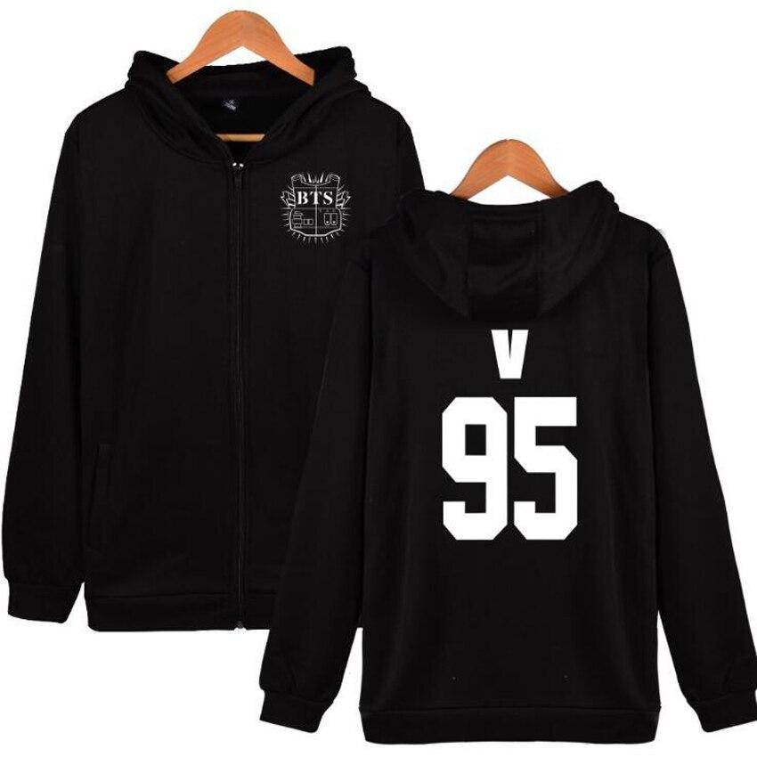 KPOP BTS Hooded Zipper Sweatshirt Korean Bangtan Boys Fans Supportive Oversized Hoodie Hip Hop pullover Tracksuit Women Men