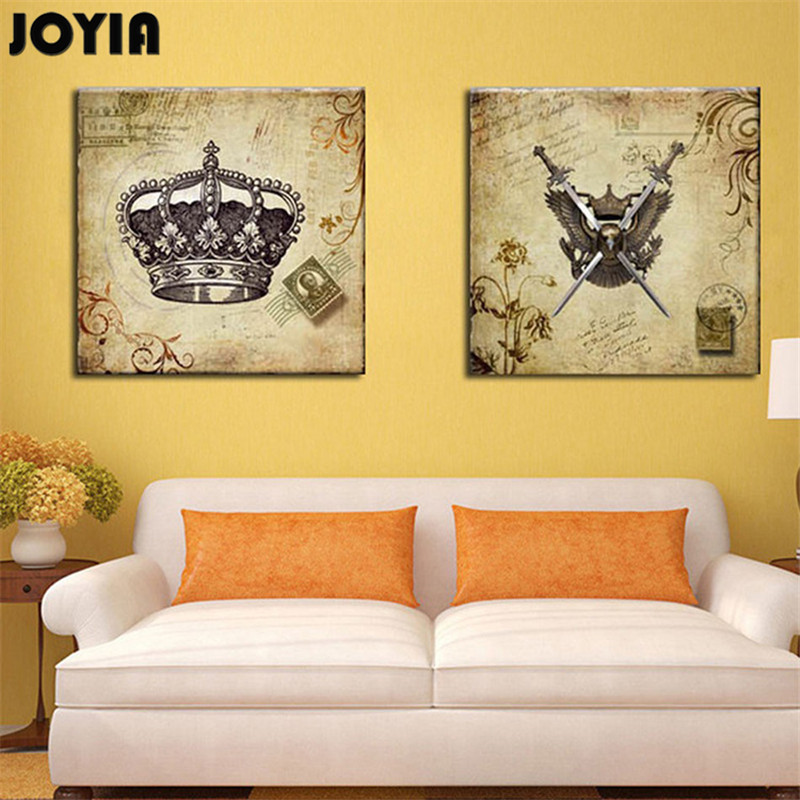 ᗔClassic Wall Art Canvas European Retro Imperial Crown Sabre Design ...