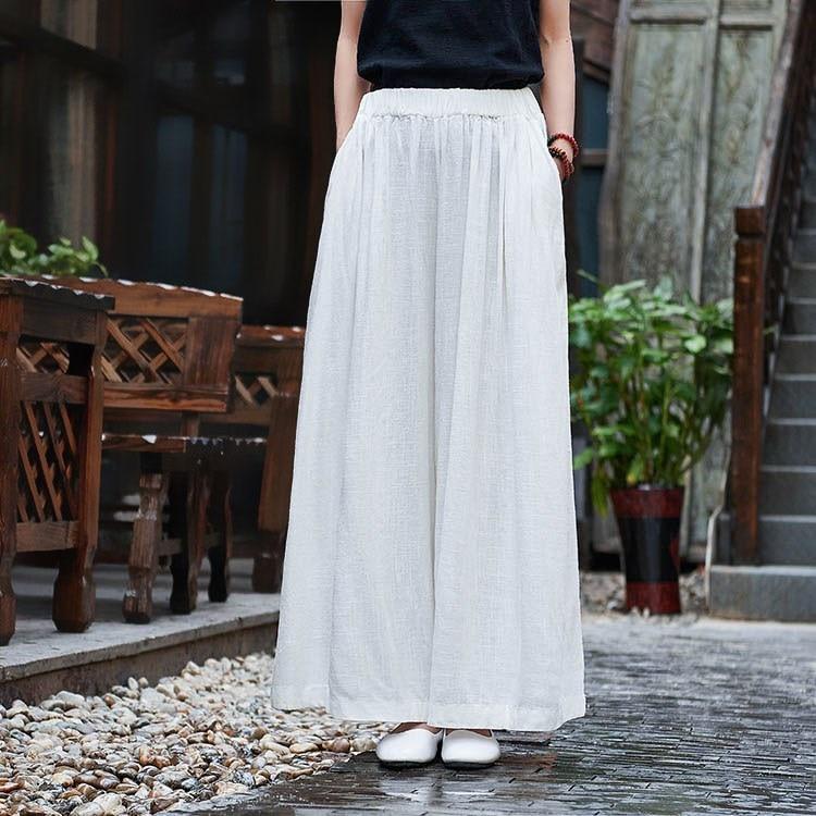 2019 Spring Summer Women Cotton Linen   Pants   Casual Solid Linen   Wide     Legs     Pants   Retro Female Elastic Waist   Pants