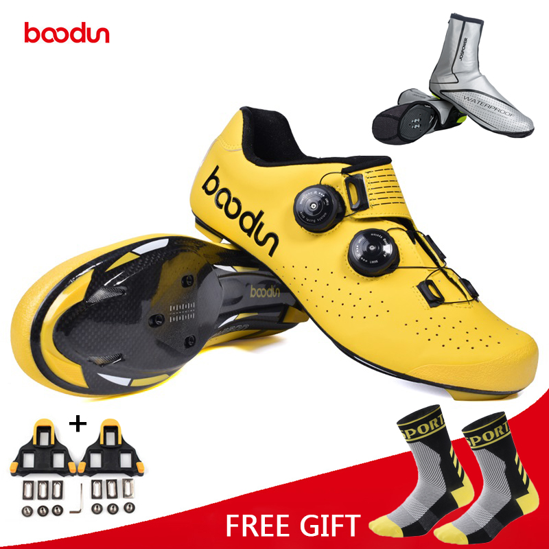 Boodun New Self Locking Carbon Fiber Road Cycling Shoes Men Bike Racing Athletic Shoes Bicycle Breathable