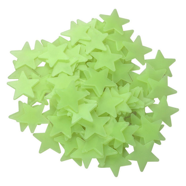 Special price! 50pcs 3D Stars in Dark Glowing Fluorescent Lamp on Living Room Wall Plastic Sticker Home Decor for Kids Room