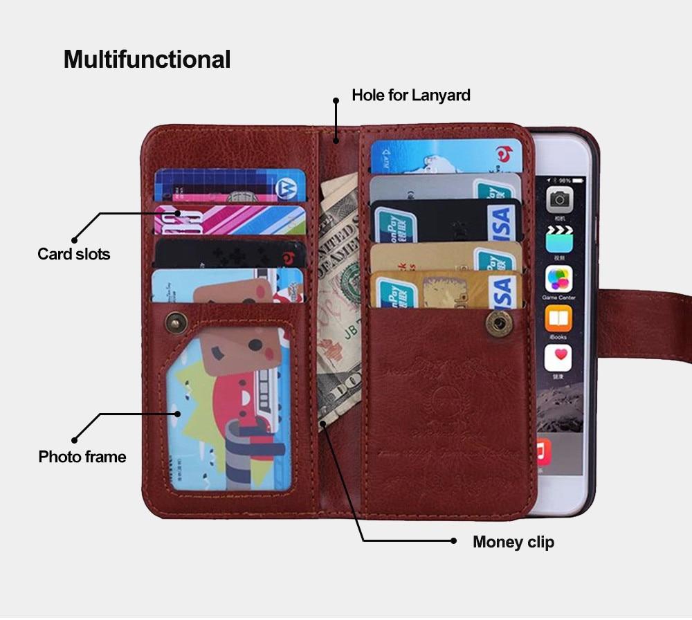 För iPhone 6s Fodral Läderplånbok Fotoram 9 kortspalthållare Flip - Reservdelar och tillbehör för mobiltelefoner - Foto 3