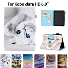 Capa de silicone para kobo clara hd 6.0 polegadas, capa inteligente de gato de desenho animado para ebook capa protetora flip de couro pu escudo de concha