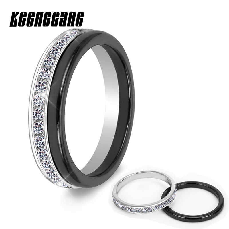 2pcs/Set Classic Black Ceramic Ring Beautiful Scratch Proof Healthy Material Jewelry For Women With Bling Crystal Fashion Ring