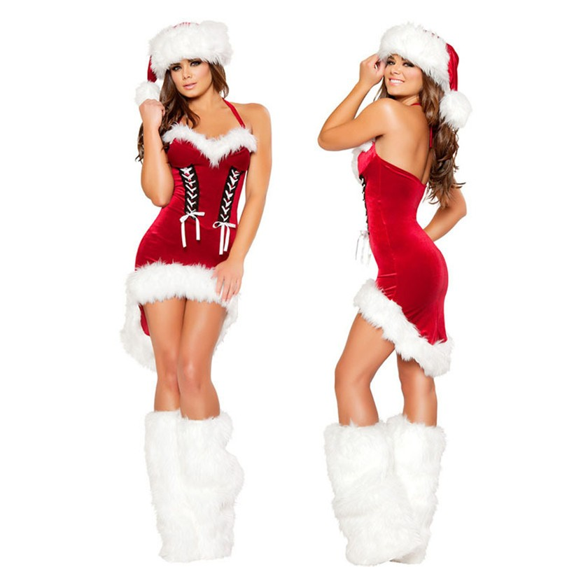 Vocole Sexy Christmas Mrs Santa Claus Costumes Strapless Velvet Tuxedo Fancy Dress with Hat and Leg Warmers