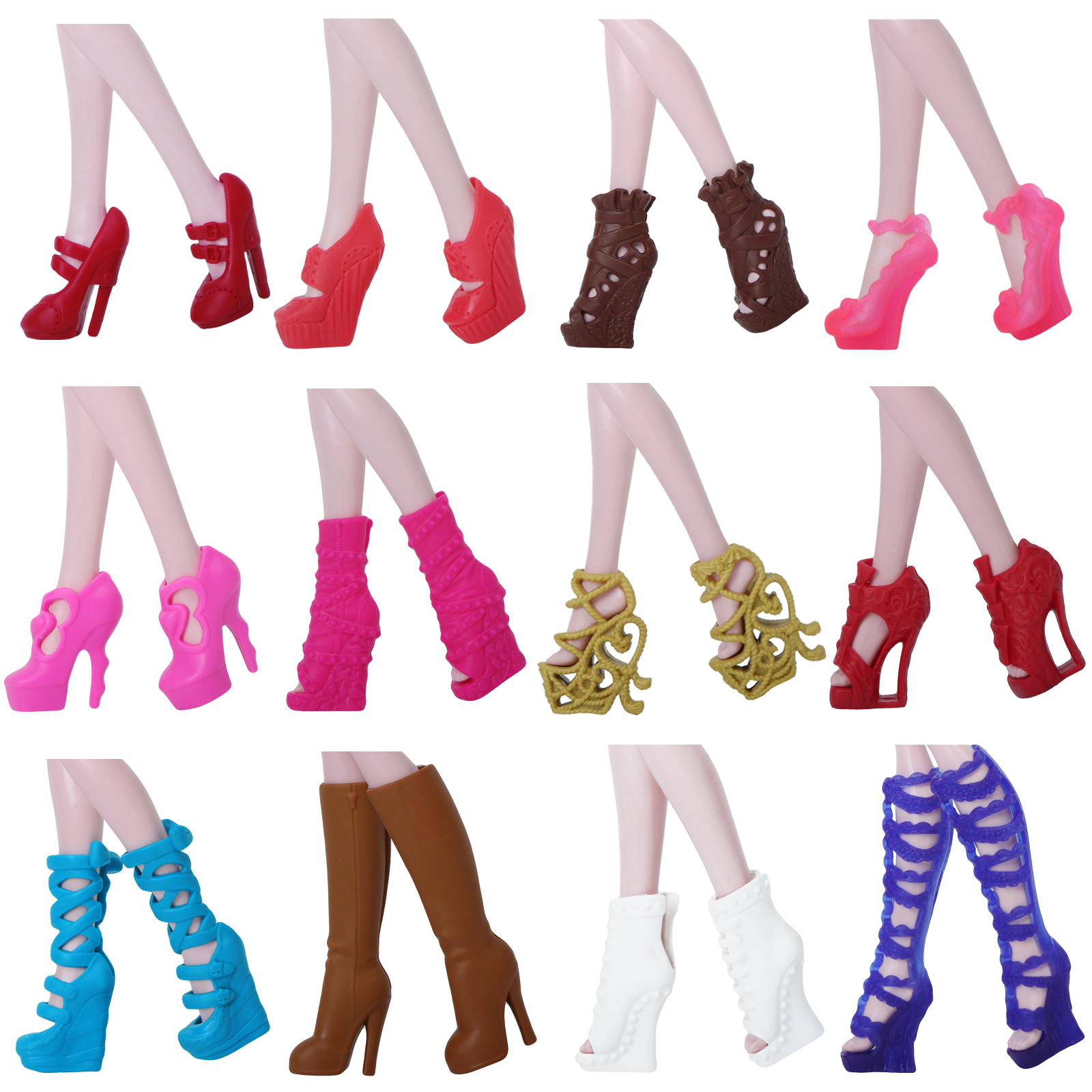 1 Pairs Fashion Shoes Mixed Style High Heels Sandals Boot Clothes Accessories For Monster High Doll For Ever After Doll