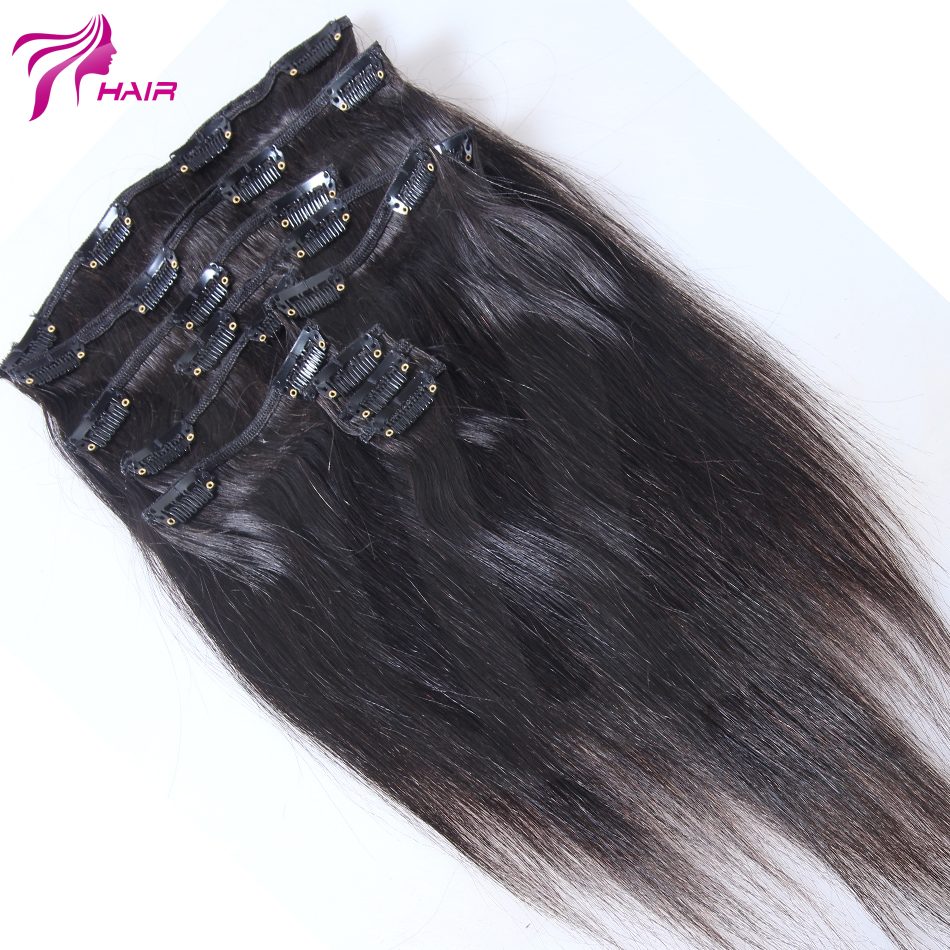 Hot Sell Clip In Silky Straight Hair Peruvian Virgin Clip In Hair Extensions Full Head Clip In Human Hair Extensions Remy Hair