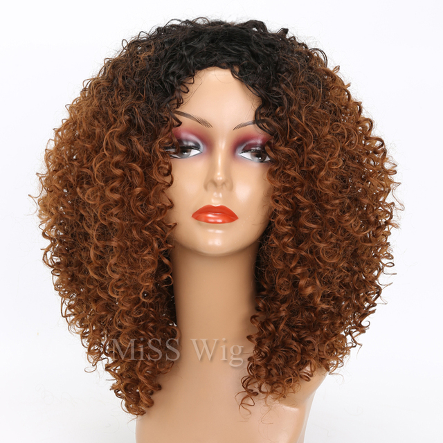 MISS WIG Black Mixed Brown Kinky Curly Wigs For Black Women Afro Wig Synthetic Hair African Hairstyle Hight Temperature Fiber