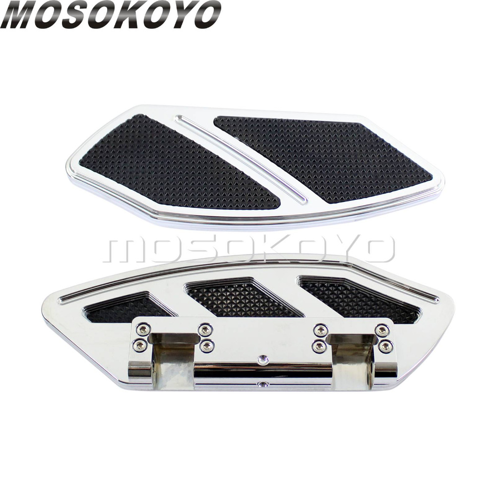 Chrome Motorcycle Driver Floorboards Highway Footrest Footpeg Pad for Harley Touring Road King Glide Softail Fat