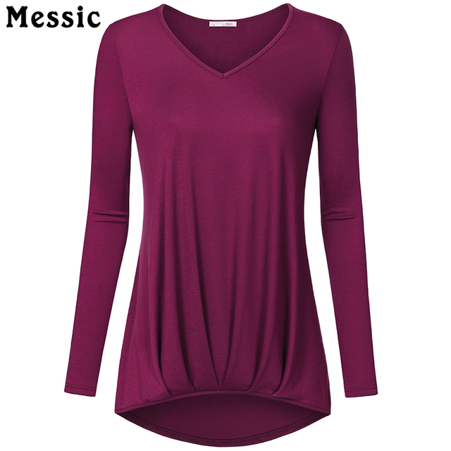 Messic Autumn Winter Women T Shirt Long Sleeve Irregular Pleated Shirt Female Tops Casual Office Women clothing Plus Size Femme