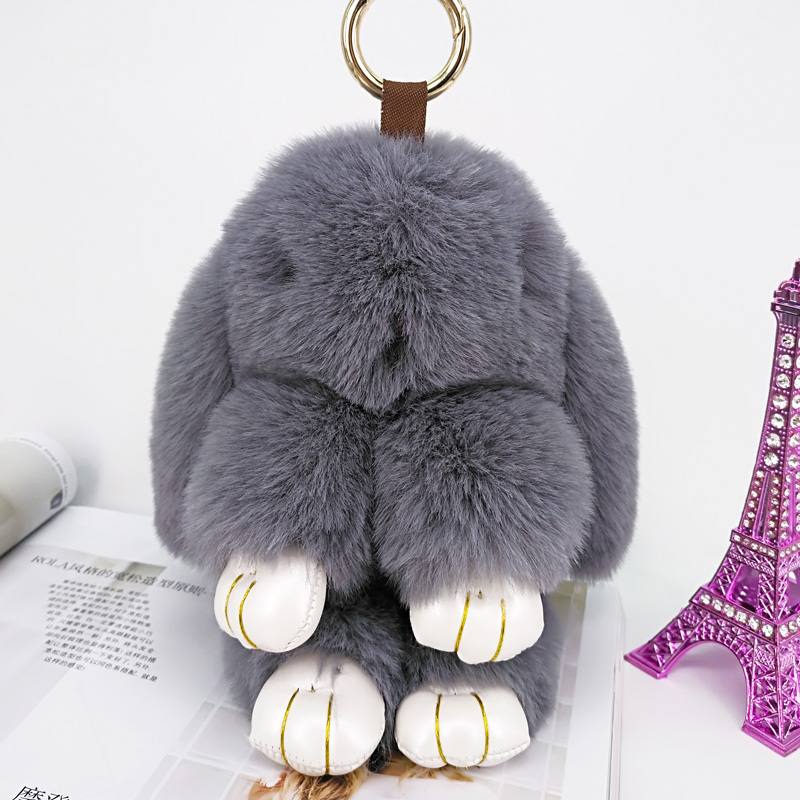 Cute Rabbit Puffy Key Chains Handmade  Bags Pendant Fashion Jewelry Ornament Car Keychain New Year Gifts Kids Toys 3