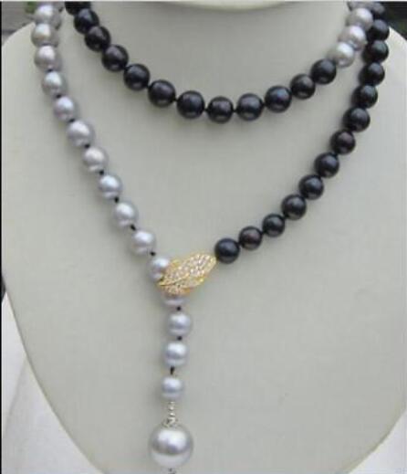 beautiful AAA 10-11mm tahaitian black gray pearl necklace 36inchbeautiful AAA 10-11mm tahaitian black gray pearl necklace 36inch