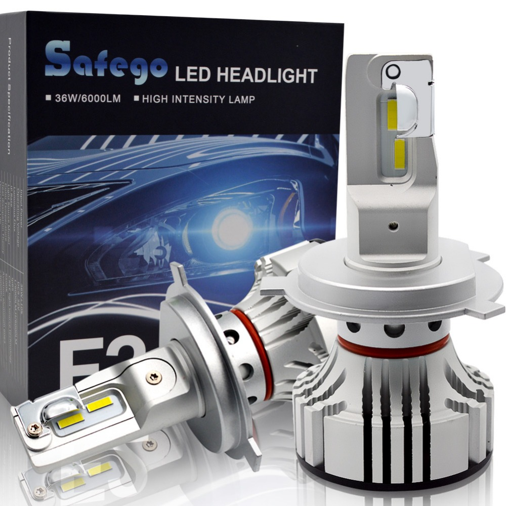 Safego 36W H7 H4 Hi/Lo H8 H9 H11 9005 9006 Car LED Headlight Kit Bulbs 4 Super Bright LED Chips 6000Lm Auto Bulb White 6000K free shipping one kit super bright 6000lm car headlight hb3 9005 60w cob led auto front fog bulb automobile headlamp 6000k
