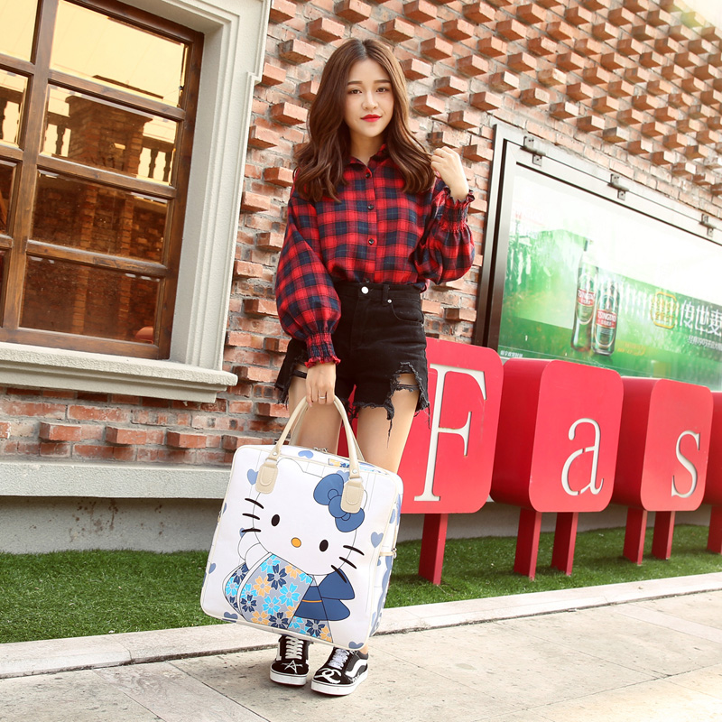 1e677c0254f5 PU Leather Hello Kitty Cat Travel Bag Women Girl Cute Duffle Pouch Weekend  Overnight Cartoon Shoulder Tote Portable Luggage Item