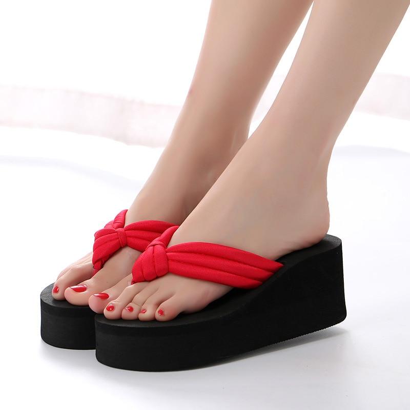dd752cea4ec9c New 2019 women high heels slippers wedge slippers summer sandals beach  wedge sandals flip flop EVA